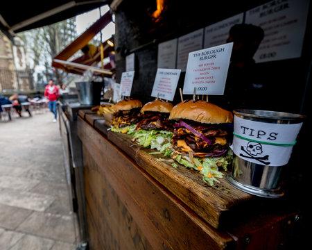 street food hamburger at the market in London
