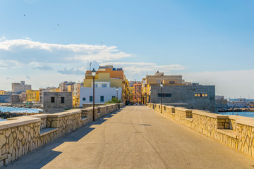View of seaside of the sicilian city Trapani, Italy
