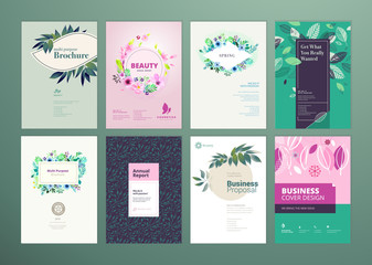Set of natural product brochure, annual report, flyer design templates in A4 size. Vector illustrations for beauty, organic products and cosmetics presentation.