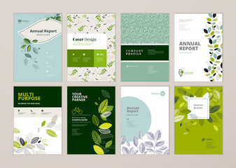 Wall Mural - Set of brochure and annual report cover design templates on the subject of nature, environment and organic products. Vector illustrations for flyer layout, marketing material, magazines, presentations
