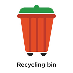 Recycling bin icon vector sign and symbol isolated on white background