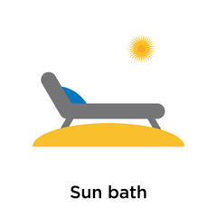 Sun bath icon vector sign and symbol isolated on white background