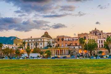 Cityscape of Palermo viewed from the seaside promenade, Sicily, Italy