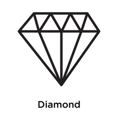 Diamond icon isolated on white background