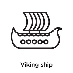 Viking ship icon vector sign and symbol isolated on white background
