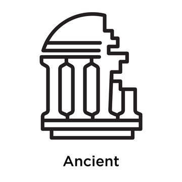 Ancient icon vector sign and symbol isolated on white background