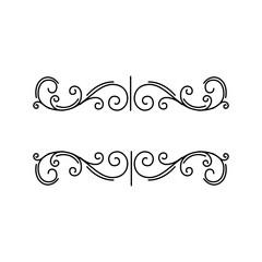 Decorative elements. Page floral border. Prnamental page decoration. Swirls, Curls. Design element. Vector.