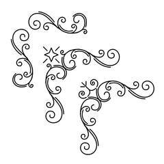 Ornamental corners set. Floral page decoration. Calligraphic design elements set. Vintage orante frames. Wedding invitation, Greeting card, Save the date card. Vector.