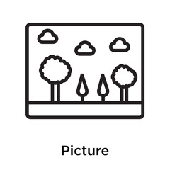 Picture icon vector sign and symbol isolated on white background