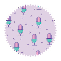 seal stamp with retro microphone pattern, vector illustration