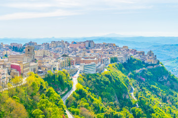 Aerial view of Enna town in Sicily, Italy