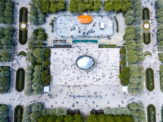 Beautiful aerial view of the  Chicago Millennium Park and Bean -The Cloud Gate Sculpture
