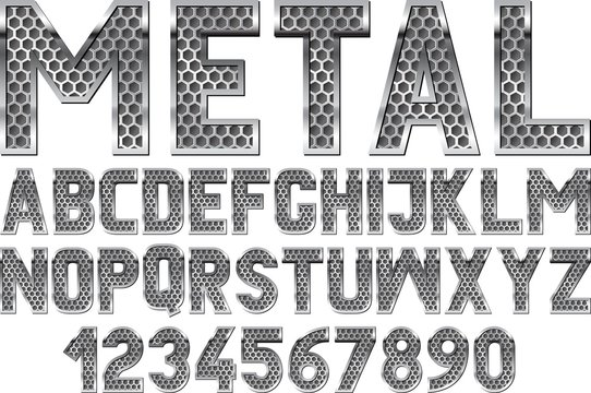 metallic font with grate texture inside