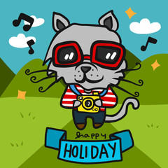 Tourist cat with camera cartoon vector illustration