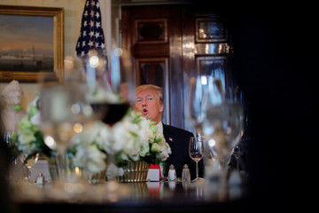 U.S. President Donald Trump attends a dinner with governors on border security and safe communities at the Blue room of the White House in Washington, U.S.,