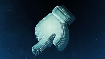 Abstract hand sign with blue background. 3D rendering