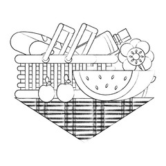 picnic basket with food and watermelon on tablecloth over white background, vector illustration