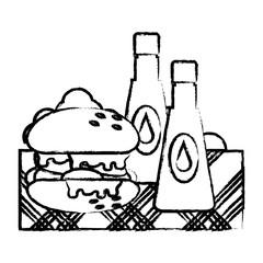 sauce bottles and hamburger over white background, vector illustration