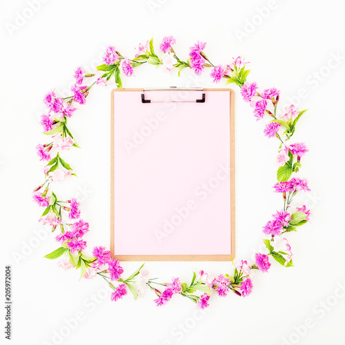 Pink flower frame with clipboard on white background. Flat lay, Top ...