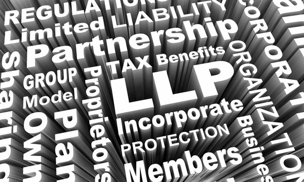 LLP Limited Liability Partnership Business Model Words 3d Render Illustration