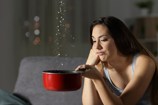Woman having water leaks at home
