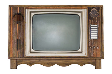 Retro Television isolated on white background. Clipping path