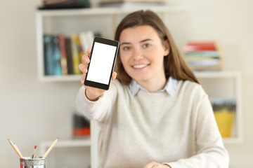 Student showing a phone screen mockup