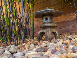Stone Lantern with Black Bamboo