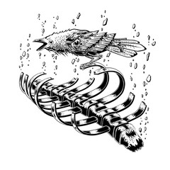 black raven bird stay on rib skeleton. crow bird. broken stone floating on sky. anatomy art. illustration vector. tattoo design.