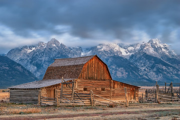 Abandoned cabin in the Tetons with a storm approaching