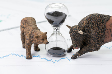 Time counting down to choose between investment bear and bull stock market concept, hourglass or sandglass on chart and graph, price list report paper surround by bear and bull figure