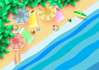 Summer concept with aerial view of colorful umbrella,accessories and coconut trees on the beach.Paper art vector illustration.