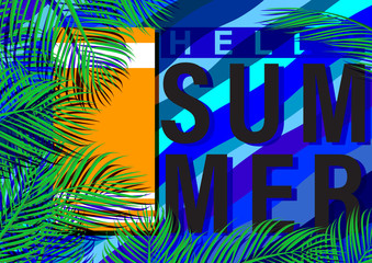 Hello summer concept with nature tropical palm leaf background template banner.Vintage style vector illustration.