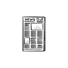 A newspaper hand drawn outline doodle icon. Daily newspaper with breaking news concept vector sketch illustration for print, web, mobile and infographics isolated on white background.