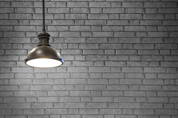 Vintage lamps in a restaurant on Gray wall background.