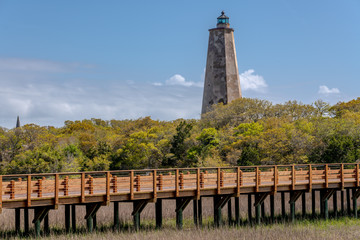 BALD HEAD ISLAND, NC - APRIL 14:  Bald Head Lighthouse, known as Old Baldy, stands on Bald Head Island, NC on April 14, 2018.
