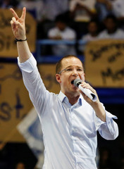 Ricardo Anaya, presidential candidate for the PAN, addresses supporters during a campaign rally in Mexico City