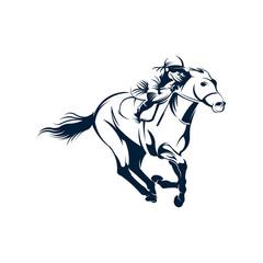Jockey logo designs vector, Running Horse logo template