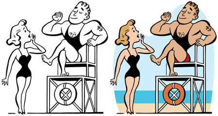 A muscular male lifeguard is admired by a blonde woman in a swimsuit.