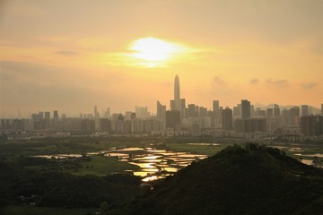 Silhouette of Shenzhen's Skyline