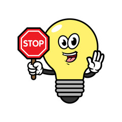 Cartoon Light Bulb Character With Stop Sign