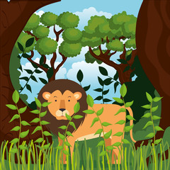 wild in the jungle scene vector illustration design