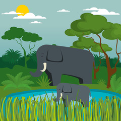 wild animals in the jungle scene vector illustration design