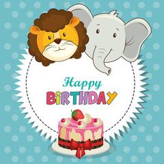 happy birthday card with cute animals vector illustration design