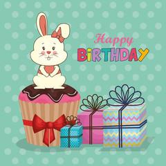 happy birthday card with cute rabbit vector illustration design