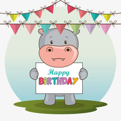 happy birthday card with cute hippo vector illustration design