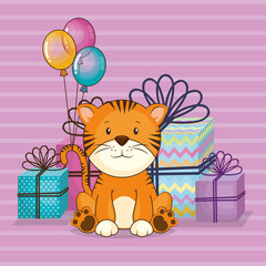 happy birthday card with cute tiger vector illustration design