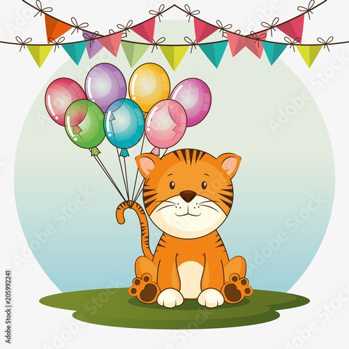 Happy birthday card with cute tiger vector illustration design happy birthday card with cute tiger vector illustration design bookmarktalkfo Images
