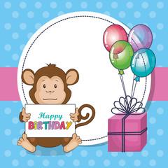 happy birthday card with cute monkey vector illustration design