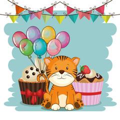 Aluminium Prints Cats happy birthday card with cute tiger vector illustration design
